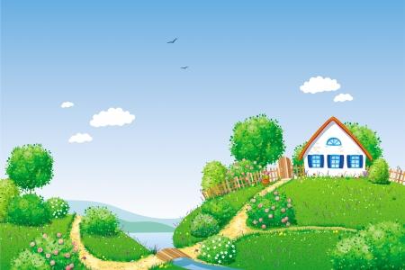granero: Paisaje de verano con la peque�a casa rural, r�o, �rboles y arbustos