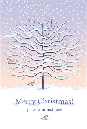 Christmas and New Year greeting card with winter tree and birds under the snow