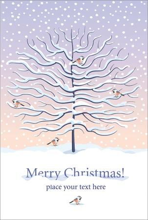 Kerstmis en Nieuwjaar wenskaart met winter boom en vogels onder de sneeuw