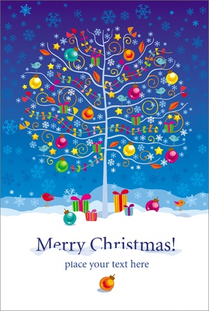 Christmas and New Year greeting card with winter tree, birds and gifts