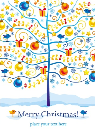 buoyant: Christmas and New Year greeting card with winter tree, birds and gifts