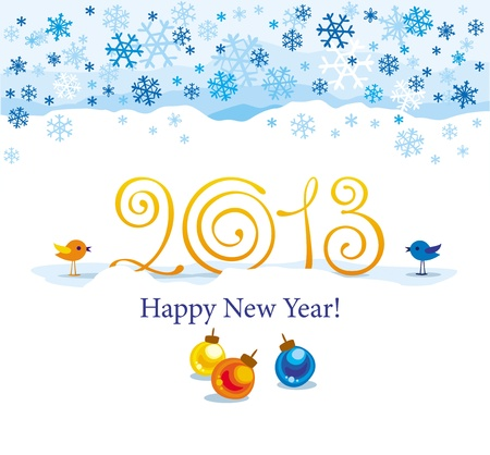 Christmas and New Year greeting card 2013 year with birds and snowflakes Illustration