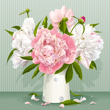 Luxurious pink and white peonies bouquet with leaves and buds in the porcelain vase