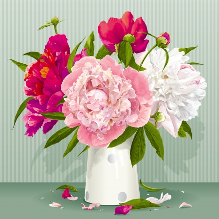 Luxe roze, rood en witte pioen boeket met bladeren en knoppen in de porseleinen vaas Stock Illustratie