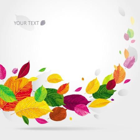 Felgekleurde herfstbladeren vliegen in de wind Stock Illustratie