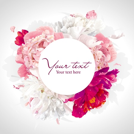 Luxurious pink, red and white peony background with a round label