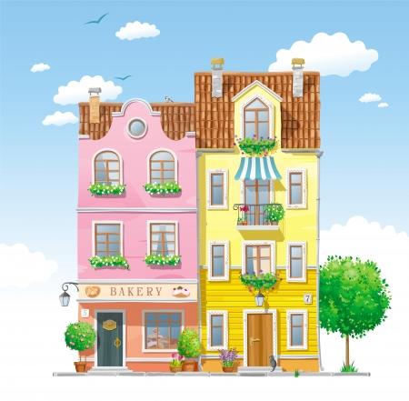 summer trees: Casas hist�ricas viejas en la calle de la ciudad con �rboles y flores de verano