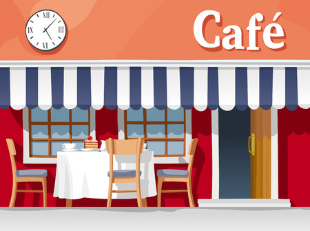 cafe table: Small street cafe with striped awning, with table and chairs, cups, plates, cake and coffee