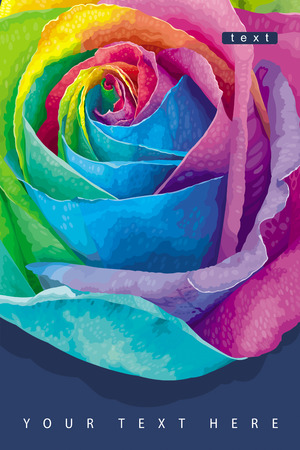 Greeting card with futuristic rose colored in the spectrum colours on the dark background Illustration