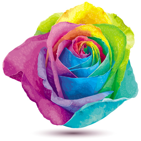 Futuristic rose colored in the spectrum colors Vector