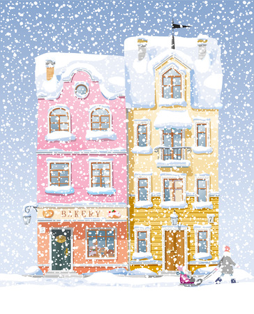 mansard: Old historical houses, shops and cafe at the snow-covered city street under snowfall