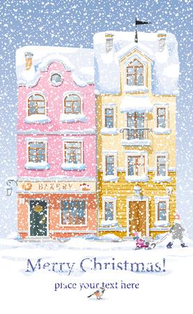 Oude historische huizen, winkels en een cafe op de met sneeuw bedekte straat in de stad onder sneeuwval