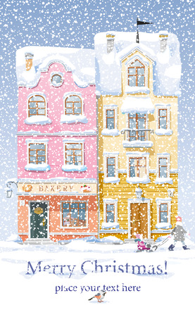 Old historical houses, shops and cafe at the snow-covered city street under snowfall