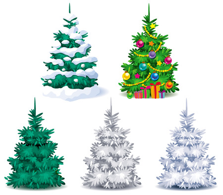Five different Christmas trees with snow and Christmas decorations Illustration