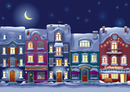 Old historical houses, shops and cafe at the snow-covered city street at midnight Ilustração