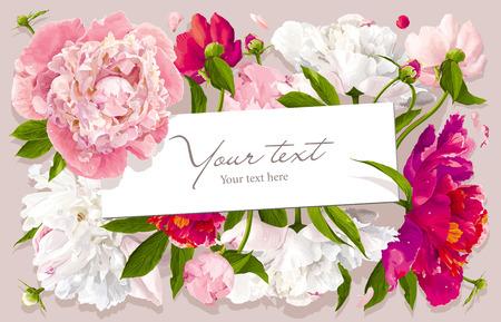 pfingstrosen: Luxuriöse rosa, roten und weißen Pfingstrose Blumen und Blättern Grußkarte mit einem Papieretikett
