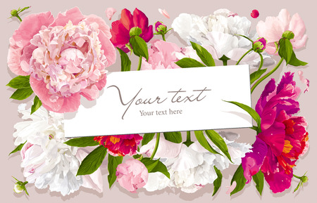 Luxurious pink, red and white peony flower and leaves greeting card with a paper label