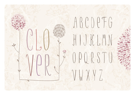 Flower alphabet with clover flowers and grass on grunge background Illustration
