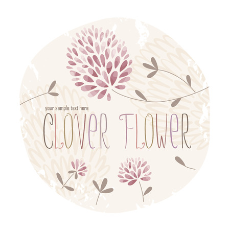 Clover circle label with lots of clover flowers and grass on grunge background