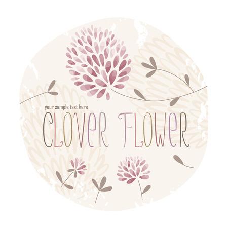 Clover cirkel label met veel klaver bloemen en gras op grunge achtergrond