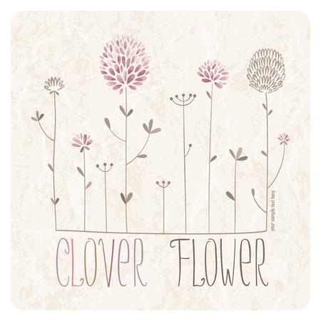 Clover Meadow with lots of clover flowers and grass on grunge background Illustration
