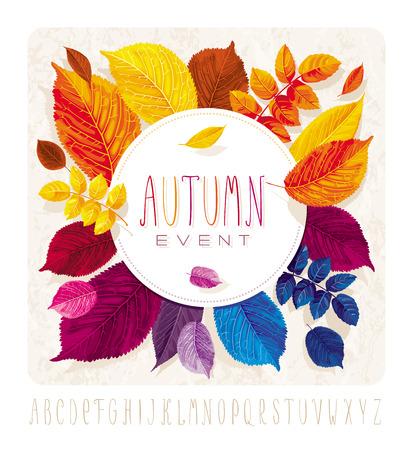 Autumn leaves carta per eventi e le vendite con etichetta rotonda su sfondo grunge Archivio Fotografico - 43877826