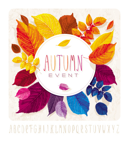Autumn leaves card for events and sales with round label on grunge background