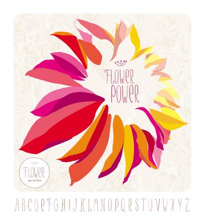 Vector dahlia flower on grunge background with hand drawn alphabet