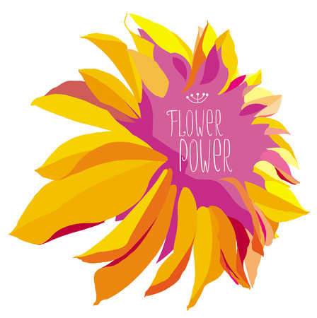 nature abstract: Vector yellow dahlia flower on white background