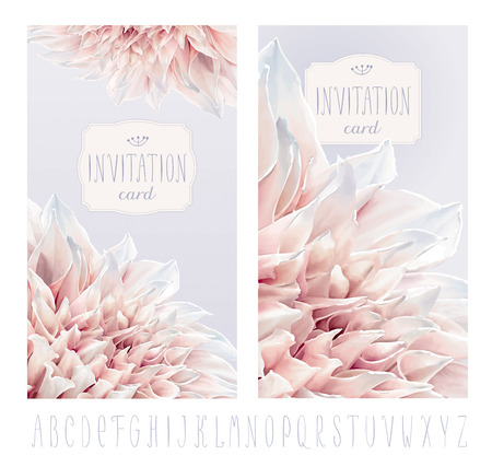 Vector flower greeting and invitation cards for Valentine's Day, wedding and other events with hand drawn alphabet