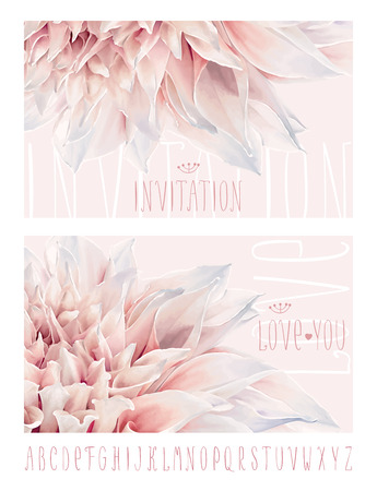 pastel flowers: Vector flower greeting and invitation cards for Valentines Day, wedding, events and sales with hand drawn alphabet