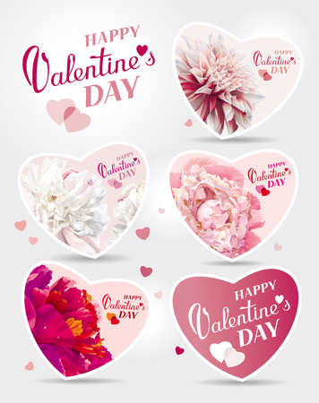 compliments: Set of flower greeting cards for the Valentines day Illustration
