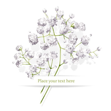 Vintage little white flowers bouquet for Valentine's Day, wedding, sales and other events painted in watercolor style Vectores
