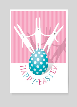 Easter greeting card with three white hares and Easter egg