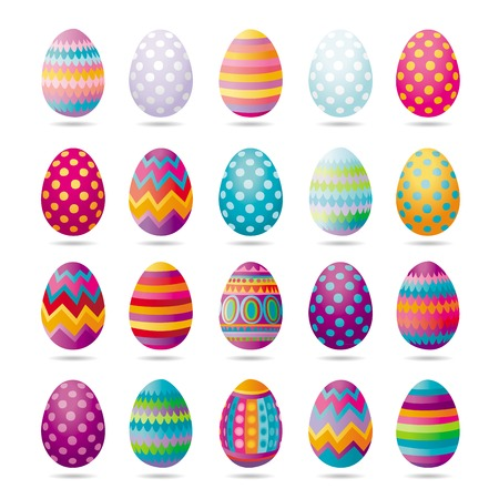 Set of painted Easter eggs for party, celebration, greeting cards and decoration for Easter