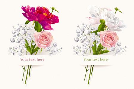 Vintage set van twee zomerbloemen boeketten voor Valentijnsdag, huwelijk, verkoop en andere evenementen geschilderd in aquarel stijl