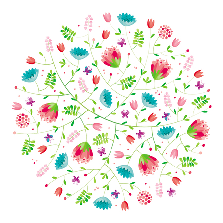 Stylized flower round spring composition for Valentines Day, wedding, sales and other events, for prints, greeting cards, posters, invitations.