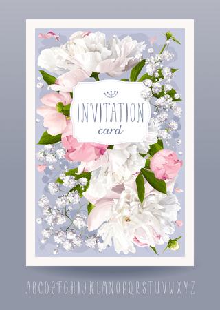 ramo de flores: invitación de la flor romántica o tarjeta de felicitación para bodas, Día de San Valentín y otros eventos con peonías, hojas, Gypsophila y la etiqueta de la vendimia. Mano dibujado alfabeto incluido. Vectores