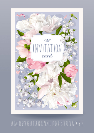 Romantic flower invitation or greeting card for weddings, Valentine's Day and other events with Peonies, leaves, Gypsophila and vintage label. Hand drawn alphabet included. Stock Illustratie