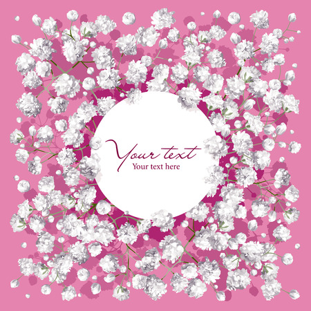 Romantic flower invitation or greeting card for weddings, Valentines Day, sales and other events with little white flowers and round label.