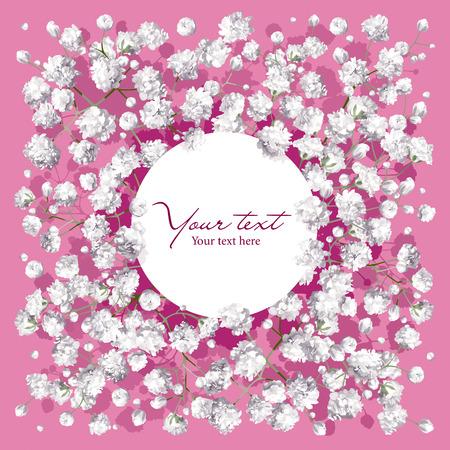 Romantische bloem uitnodiging of wenskaart voor huwelijken, Valentijnsdag, verkoop en andere evenementen met kleine witte bloemen en rond label. Stock Illustratie
