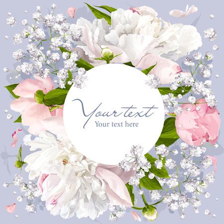 Romantische Blumeneinladung oder Grußkarte für Hochzeiten, Valentinstag und andere Veranstaltungen mit Pfingstrosen, Blätter, Gypsophila und runden weißen Etikett.