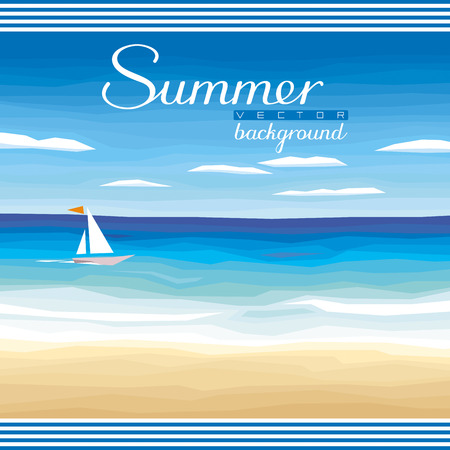 Seascape vector background - tropical sand beach, ocean, sky for summer events and advertising