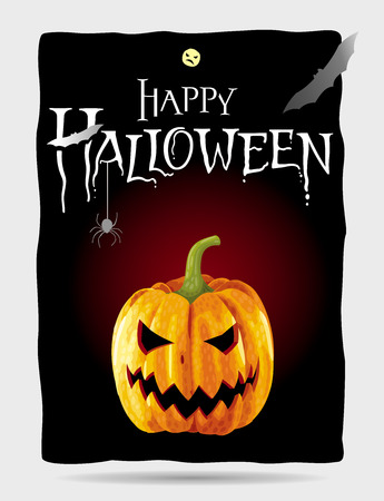 Happy Halloween black poster with yellow pumpkin Illustration