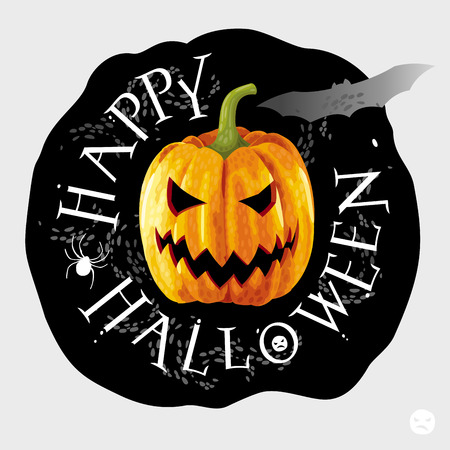 Happy Halloween black round label with yellow pumpkin