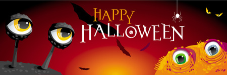 Happy Halloween banner with cartoon Monsters, Bats and Spider Illustration