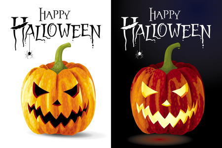 Set of two Halloween greeting card - Jack-o-lanterns on black and white backgrounds