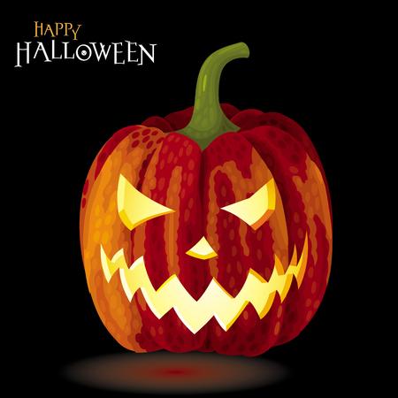 Halloween greeting card - Jack-o-lantern glowing on black Illustration