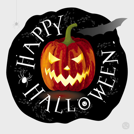 Halloween greeting card - Jack-o-lantern glowing on black Illustration
