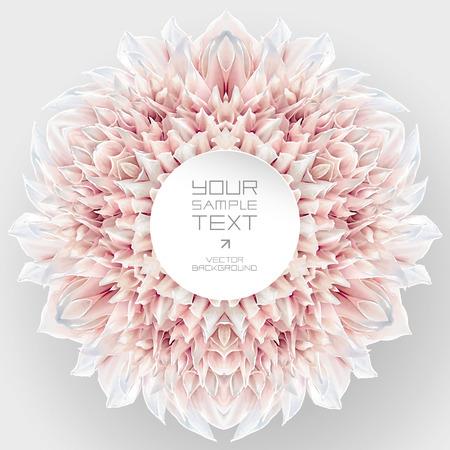 Design en kunst element - abstract caleidoscopisch rozet bestaat uit reflecties van rood-witte tuin Dahlia bloem op een neutrale grijze achtergrond voor. 6 radiale symmetrie.